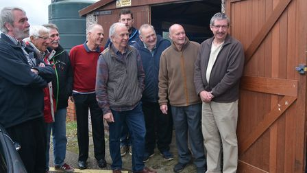 Wells Community Hospital general manager, Samantha Taylor, shows Men's Shed members the building whi