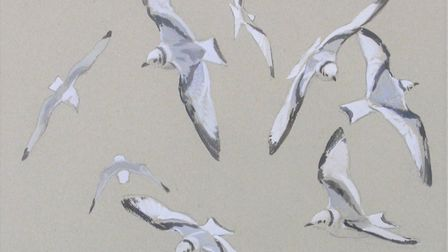 Kittiwakes, by Tim Wootton, whose work will be on show as part of BIRDscapes Gallery's Christmas exh