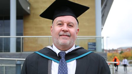Football coach mentor Darren Moss has graduated from university. Picture: University of Worcester
