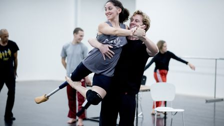 Performers from contemporary dance school Candoco Dance Company rehersing for a performance on BBC O