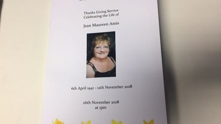 Order of service at Jean Amis' funeral at Cromer church. Picture: David Bale