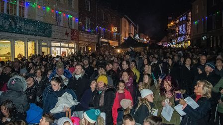 The crowd just as the North Walsham Christmas lights were switched on Picture: ANDREA HUDSON PHOTOG