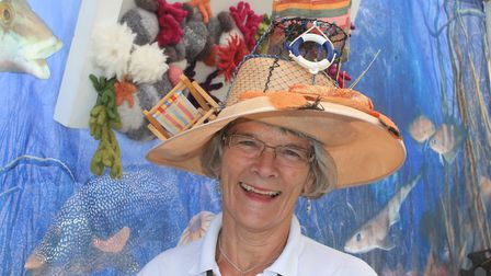 Joint Crab and Lobster Festival president Hilary Cox sporting a Cromer-themed hat Photo: KAREN BETHE
