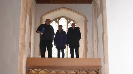 L-R, the bellhanger (Andrew Nicholson), the project co-ordinator (Sue Morton) and the Rector (Fr Phi