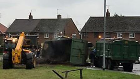 A tractor overturned in Hoveton. Pictures: Natalie Doughty
