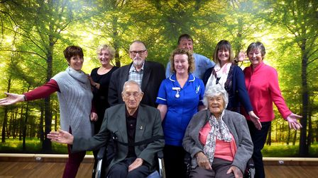 North Walsham Hospital Friends members by the new 'woodland' mural in the day room. Picture: RICHARD