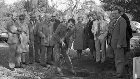 A North Walsham Hospital Friends tree planting session in 1984 with former chairman Brian Elliott on