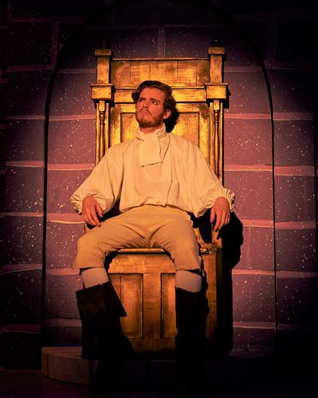 Prince Sebastian (George Caporn) in his enchanted castle in Sheringham Little Theatre's Beauty and t