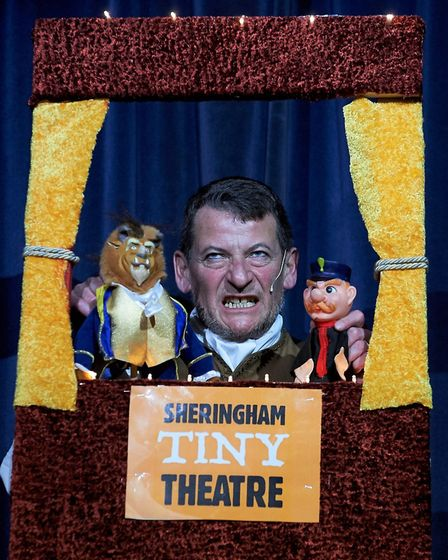 Sheringham Tiny Theatre – Maurice, played by David Tarkenter, gives a mini round up of the plot so f