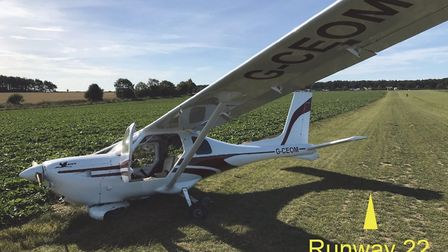 A plane which was seriously damaged at a Cromer airfield crash-landed due to a fault with its tyre v