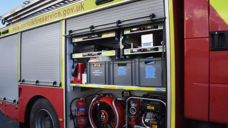 Firefighters tackled a blaze in a bin after rubbish caught fire in a north Norfolk town. Photo: DENI