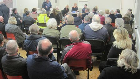 NNDC's Saul Penfold addressing the meeting at Swanton Abbott village hall. Picture: Gill Kimmerling