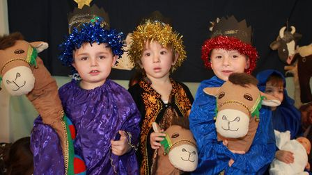 Wise men WIlliam, Alfie and Henry on stage at the Ladybird Pre-school Nursery production of Nativity