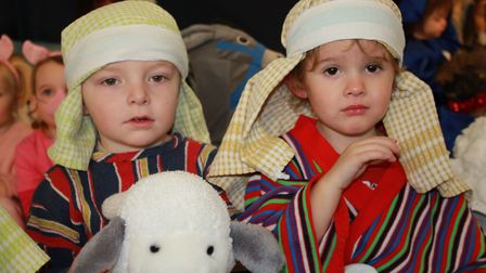 Shepherds Dawson and Rico on stage at the Ladybird Pre-school Nursery production of Nativity for Lit