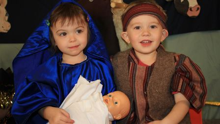 Ladybird Pre-school Nursery youngsters Safina and Zac as Mary and Joseph in a production of the the