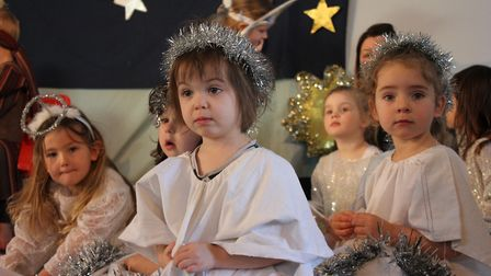 Angels on stage in the Ladybird Pre-school Nursery production of Nativity for Little Ones.Photo: KAR
