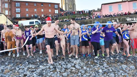Last year's Boxing Day dip.Photo: SONYA DUNCAN