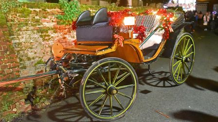 Santas horse carriage crashed against the church wall after the horses became distressed and bolted