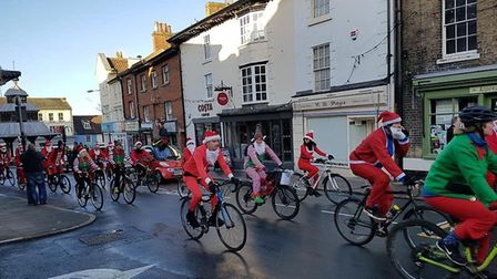 Social club's annual Santa charity cycle ride. Pictures: Maurice Page