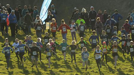 The mass start of runners in the Juniors race of the Hunny Bell Cross Country 2018, at the Stody Est