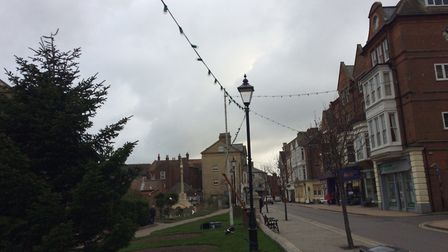Church Street in Cromer was temporarily closed after the Chritsmas lights were blown down by the win