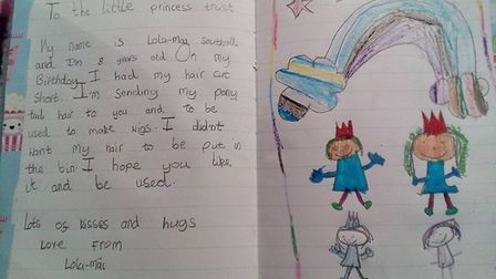 The letter and picture Lola-Mai Southall sent to the Little Princess Trust. Picture: SUPPLIED BY SOP