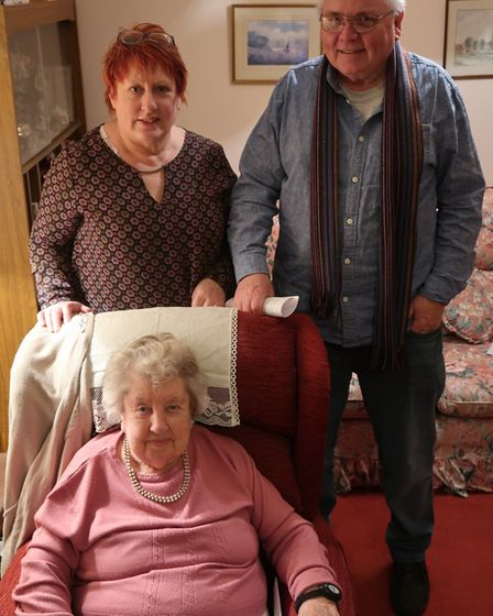 Sheila Condon, 90, with her daughter Teresa Butler and Graham Jones in North Walsham. Picture: STUAR