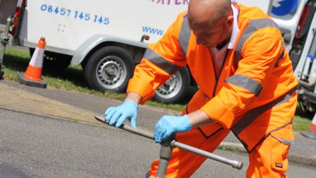 Stock image of an Anglian Water team at work detecting and repairing leaks. Picture: Anglian Water.