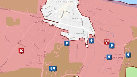 A map of the affected area in north Norfolk. Photo: Anglian Water
