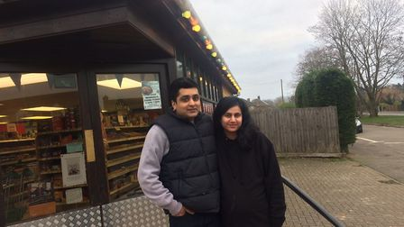 Prakash and Manju Sanga at the Cawston Post Office and store. Picture: David Bale