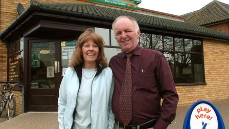 Steve Parsons and Val Mansfield at Cawston Post Office in 2005. Picture: Bill Smith