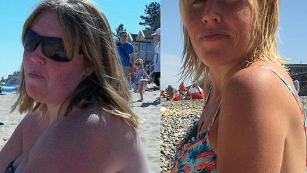 Before and after shots of Laura George, who has lost 7st in weight. Pictures: supplied by Jane Keil