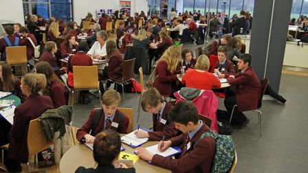 Students meet business people at a North Walsham High School mentor speed mentoring event. Picture: