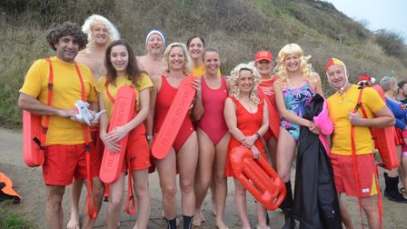 Participants in the Mundesley Boxing Day Dip, 2018. Picture: WENDY COPPING