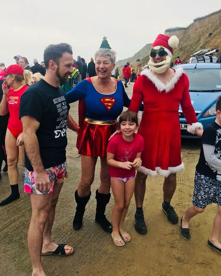Participants in the Mundesley Boxing Day Dip, 2018. Picture: CRUELLA JONES