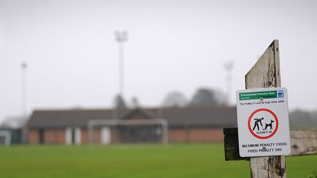 A dog fouling sign at North Walsham Town FC.PHOTO: ANTONY KELLY