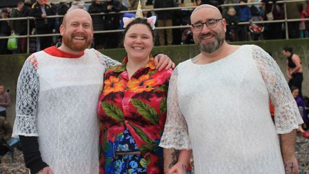 Sean Hannah (left) with friends Hannah and Chris Holgate Parks dressed to impress at Sheringham's an