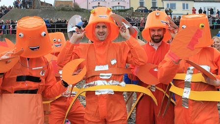 Corpusty Primary School teacher Robert Goodson (centre) and pals, who won the fancy dress prize at S