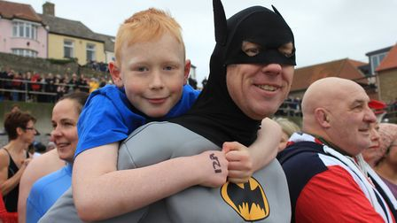 Ten-year-old Archie Bain and his dad Matt, who drove 130 miles from Nottingham to take part in Sheri
