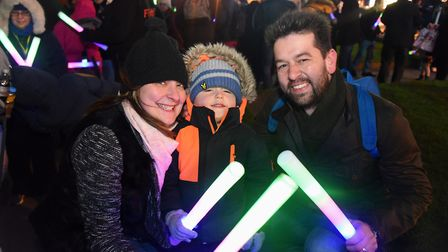 Victoria and Lawrence Osborne with their son Lochlan, three, taking part in the Cromer New Year's Da