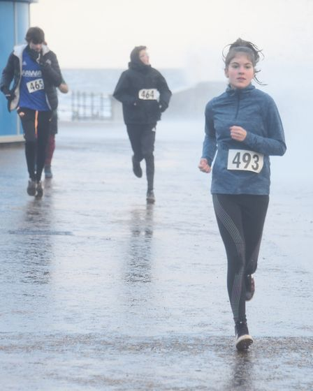 Runners in the New Year's Day family fun run at Cromer. Picture: DENISE BRADLEY