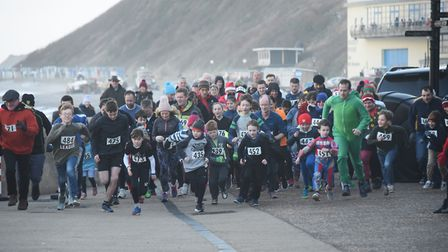 The start of the New Year's Day family fun run at Cromer. Picture: DENISE BRADLEY