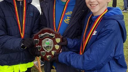 Under-11s (from left to right) Max Parsley, Joseph Keeble and Harvey Shaw pick-up team gold Picture: