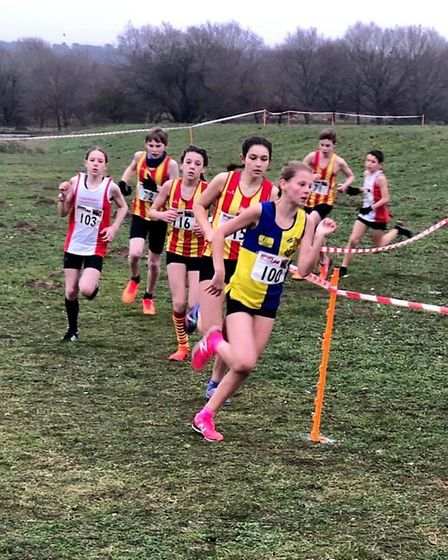 Abbi McCallum leads the way for North Norfolk Harriers during Sunday's Norfolk Cross Country Champio