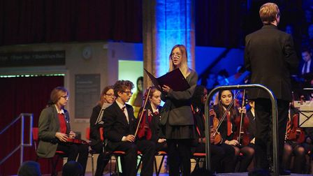 Anwyn Chapman from Cromer Academy performs a solo at the opening of Once In Royal David's City. Pict