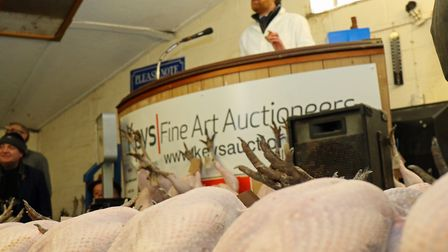 Auctioneer David Gould on the rostrum at the 2017 Keys annual Christmas poultry sale. Picture: Andy