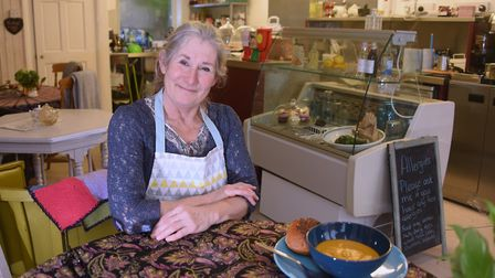Anne Richardson who has opened Cafe Carmel, a vegetarian cafe at Bacton, named in memory of her late