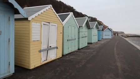 Damage to beach huts in Cromer, caused by the high tides and flooding on January 8, 2019. Picture: S