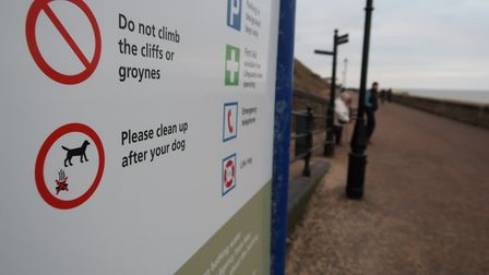 A sign on Cromer Promenade asking dog owners to clean up after their pets. Picture: STUART ANDERSON