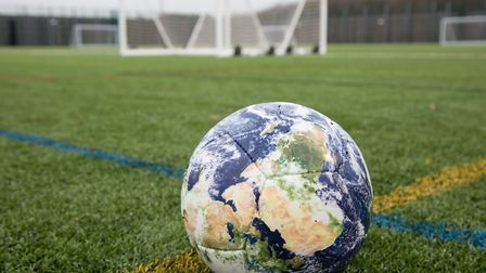 Specially-commissioned football now on display in Aylsham. Picture: Dominic Holden
